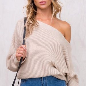Princess Polly Tan Off The Shoulder Sweater